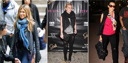 Jennifer Aniston, Hillary Duff, Kim Karadishin in Emilio Pucci Scarf