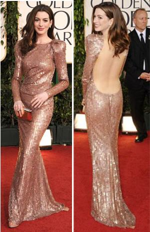 AnneHathaway Golden Globes Armani Dress The Best of Golden Globes 2011 Red