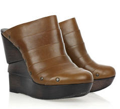 Diane Von Leather Wood Wedges