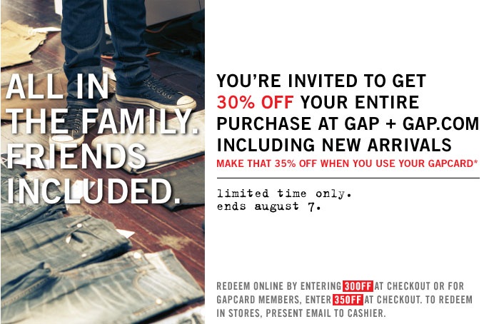 Gap Friends and Family Sale 2011