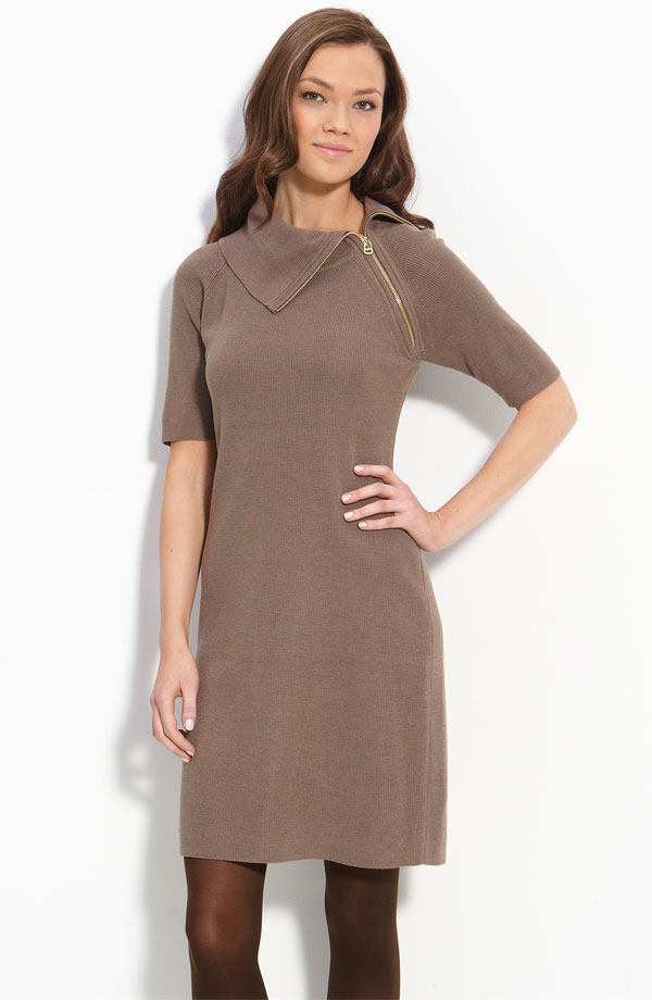 Calving Klein Assymetric Neck Sweater Dress
