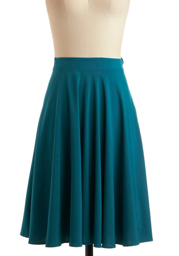 Midi ModCloth Teal the deal skirt