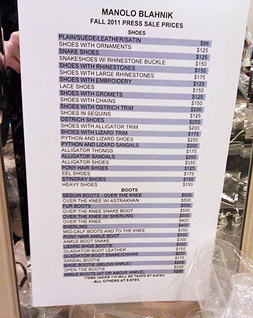 Manolo Blahnik Sample Sale Price List