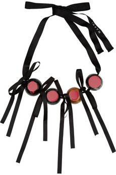 Marni Horn bead and ribbon necklace