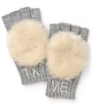 Juicy Couture Girls' Boxed Pom Pom Text Gloves