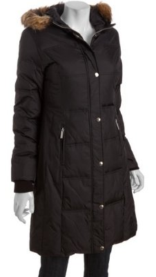 MICHAEL Michael Kors    black quilted nylon down filled faux fur trimmed hooded three quarter parka