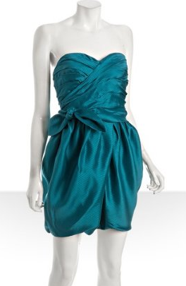 Marc by Marc Jacobs    bright blue ruched silk 'Lela' strapless dress