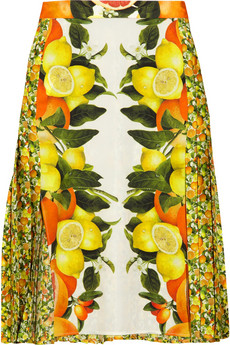 STELLA MCCARTNEY Citrus-print pleated silk skirt