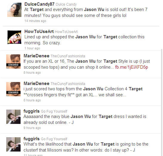 Jason Wu for Target Tweets