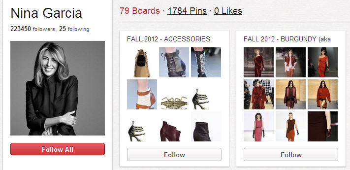 Best Pinterest Users & Boards to follow Nina Garcia