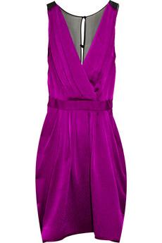 THREAD SOCIAL Sheer-back hammered-silk dress