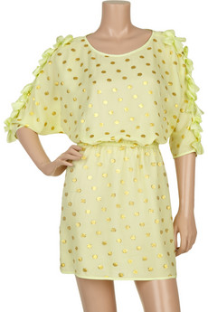 THREAD SOCIAL Polka-dot silk-blend dress