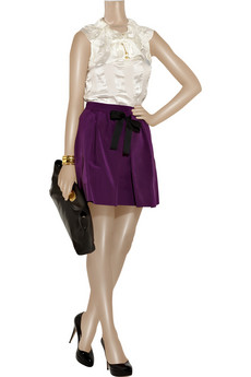 SEE BY CHLOÉ Bow-emellished cotton-blend skirt