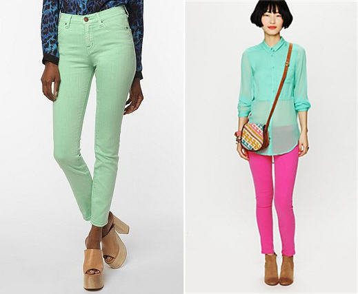 Candy Color Jeans BDG Green Free People Pink