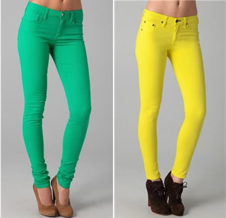 Rag & Bone yellow jeans and joie's green jeans
