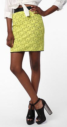 Urban Outfitters Yellow Lace Mini Skirt