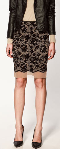 Zara Lace Sheath Skirt