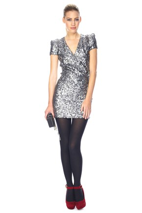 French Connection SILVER SAMANTHA SEQUINS DRESS