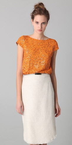 Alice and Olivia Sariart Sequin Top