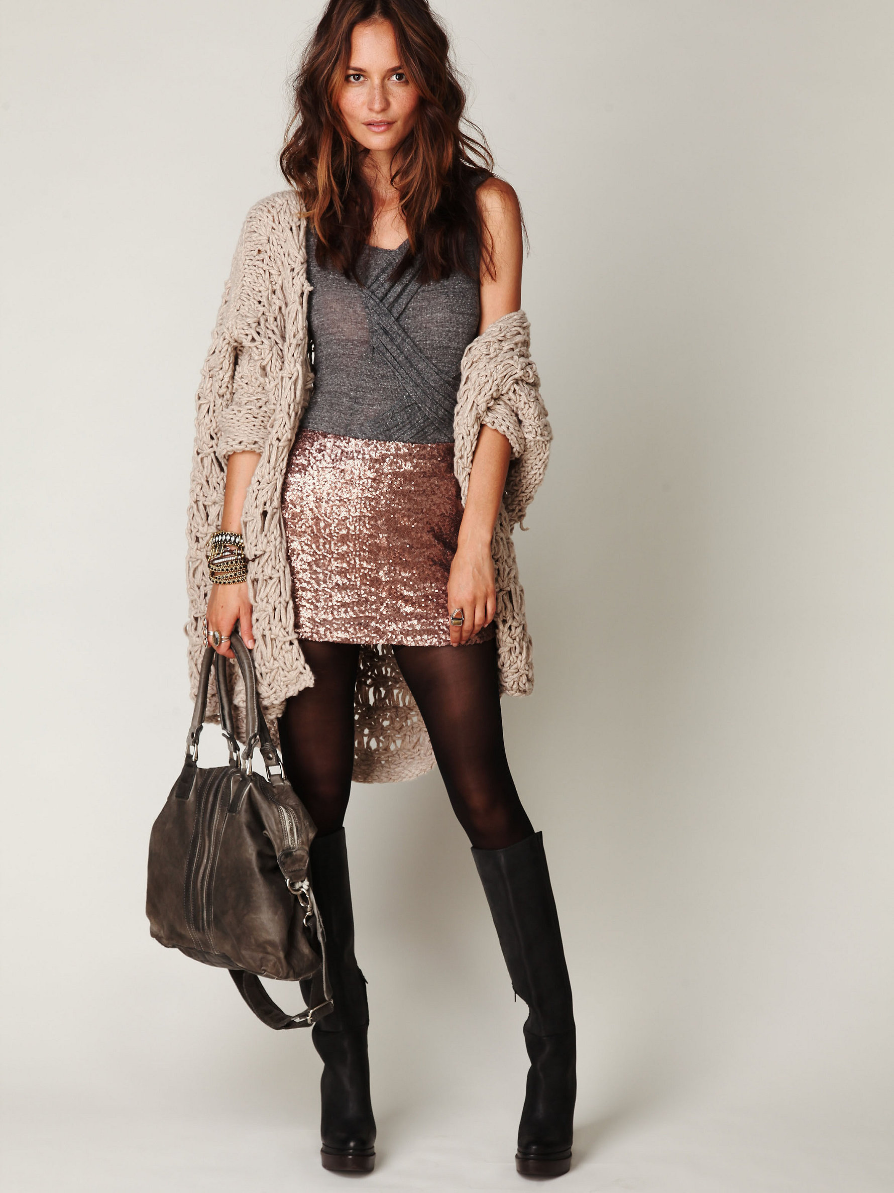 Free People Sequin Skirt