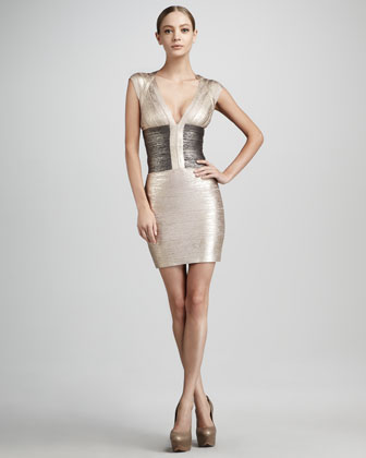 via Fashion Hippo - Herve Leger Metallic Colorblock Bandage Dress